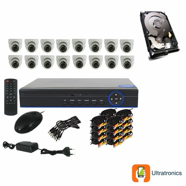 Full HD AHD CCTV Kit - 16 Channel CCTV DIY camera system - 16 Dome Cameras plus 500 GB Hard Drive