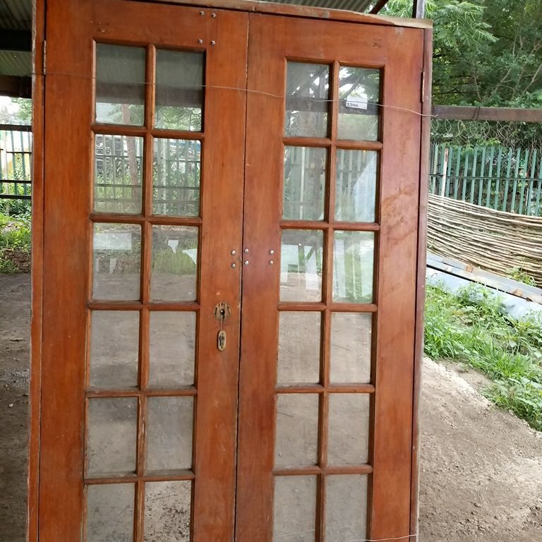 Used Cottage Pane Double Wooden Door Junk Mail