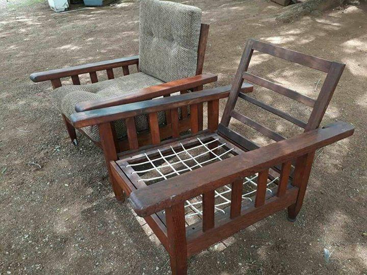2 Dark wooden garden chairs with cushions
