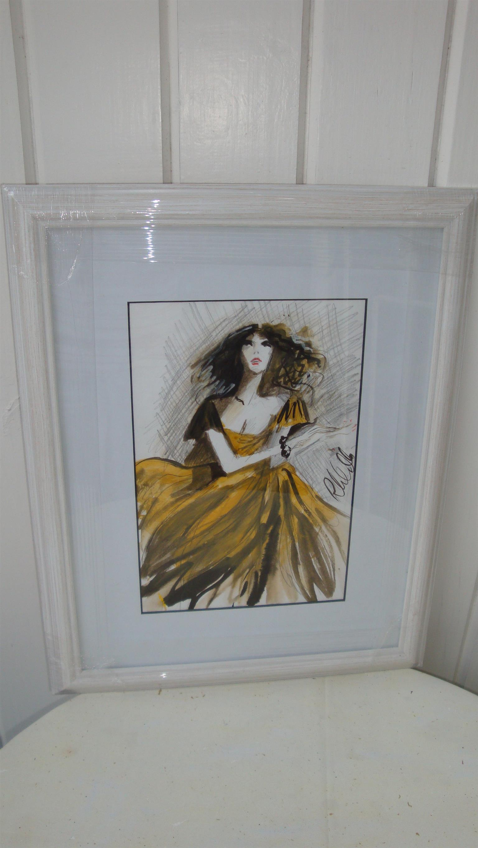 Affordable, original and framed art by Irish artist Ros Webb - girl with yellow and black dress