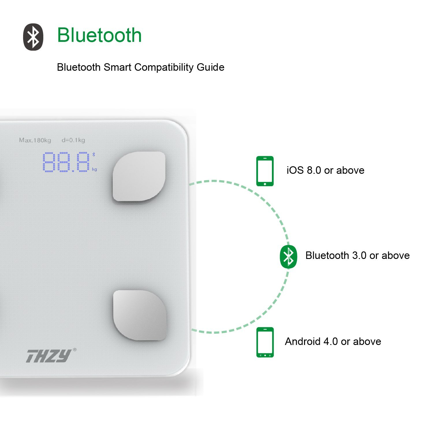 Wireless bluetooth body fat scale(with Android 4.3 and IOS 8.0 or above)