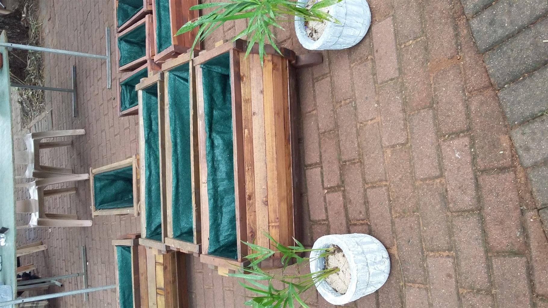 Wooden herb and flower planters