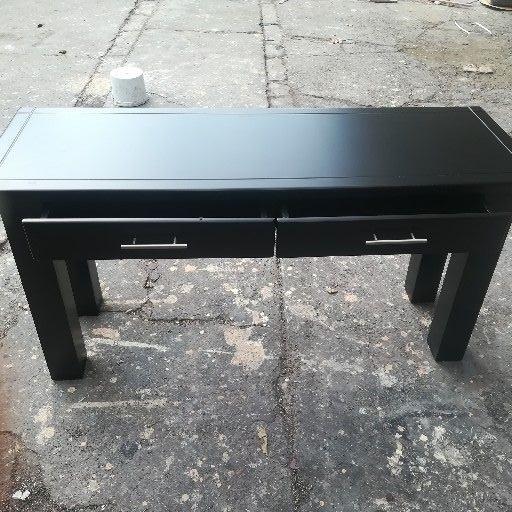 Black wooden side table server