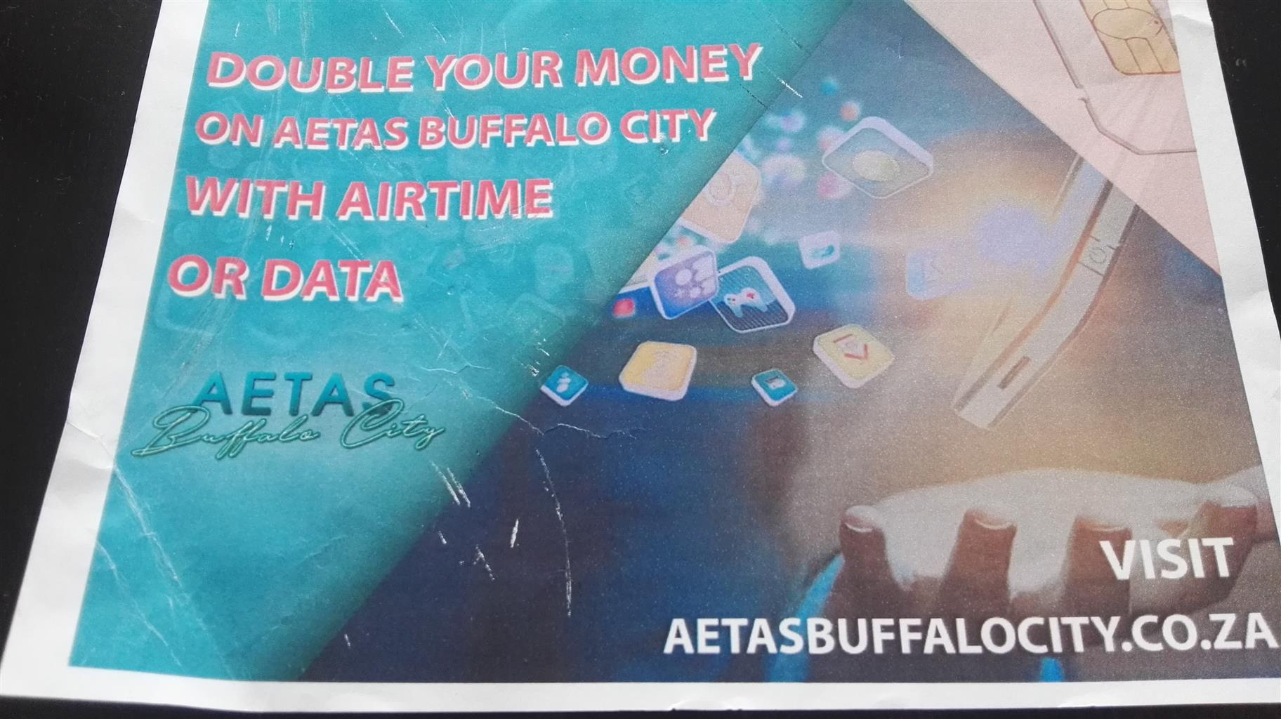 GET 100% FREE AIRTIME AND DATA BACK FOR ANY AMOUNT YOU PURCHASE WITH AETAS BUFFALO CITY