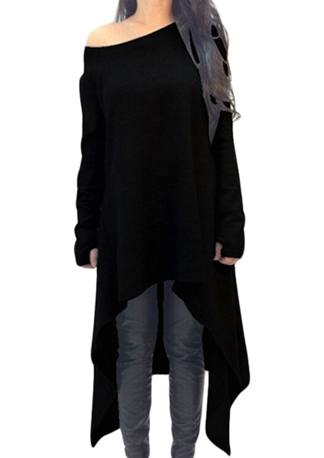 Asymmetrical Black Long Sweater