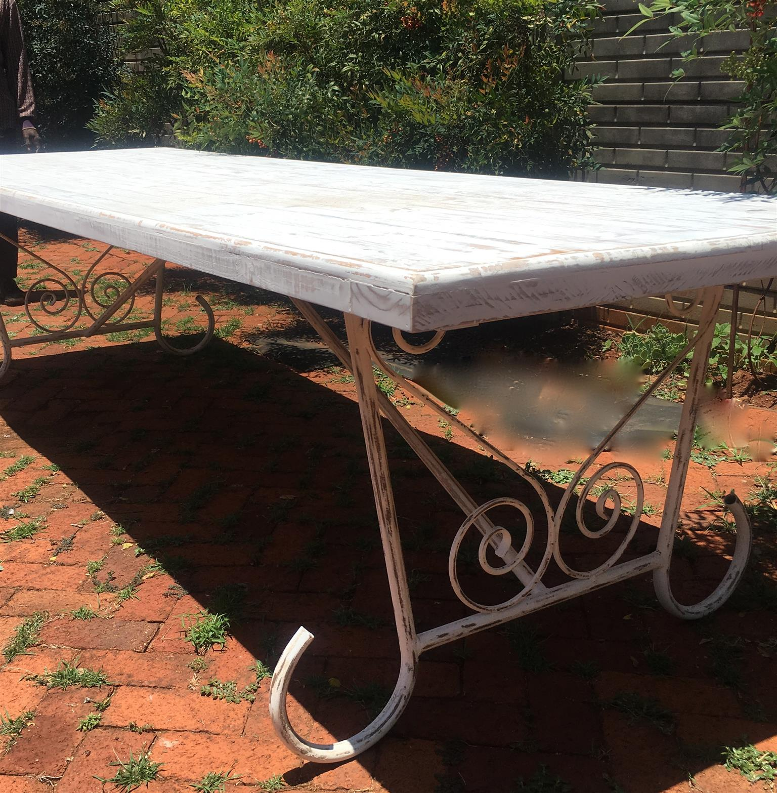 french look tables with washed finish and curly legs