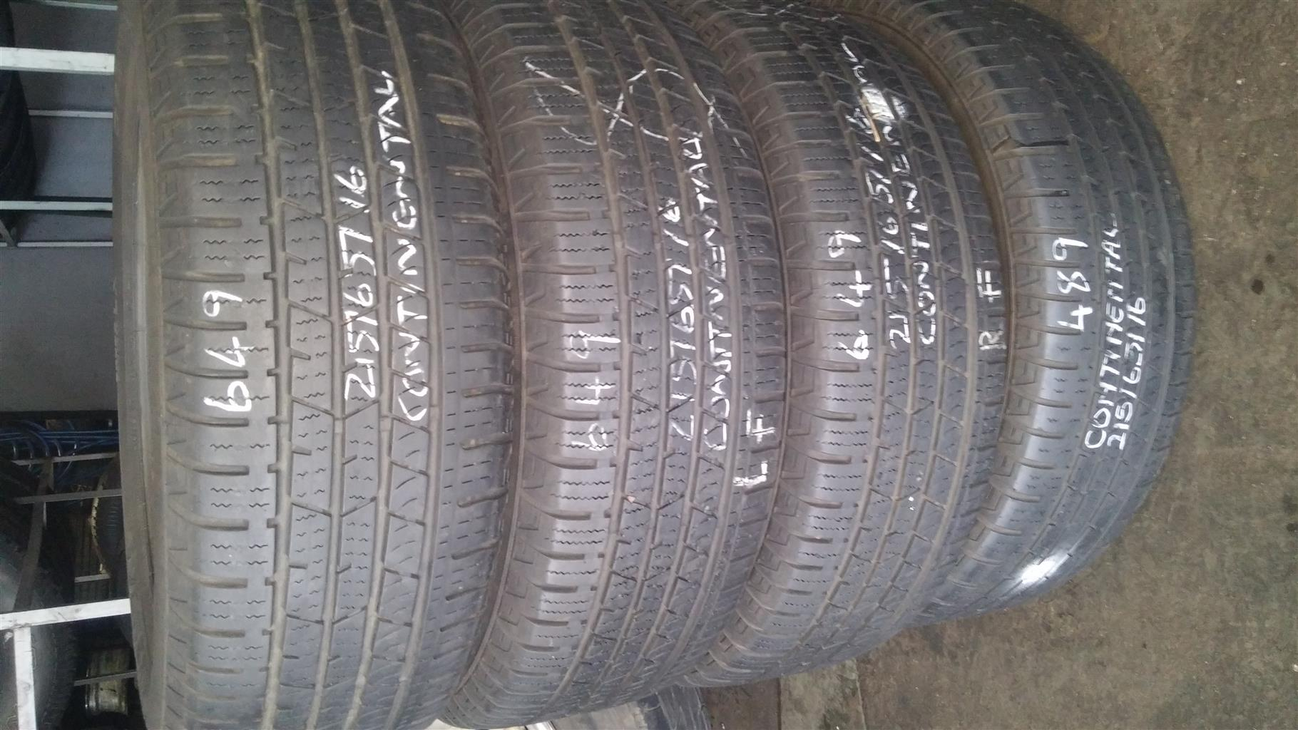 Secondhand tyres 60%-80% Sets