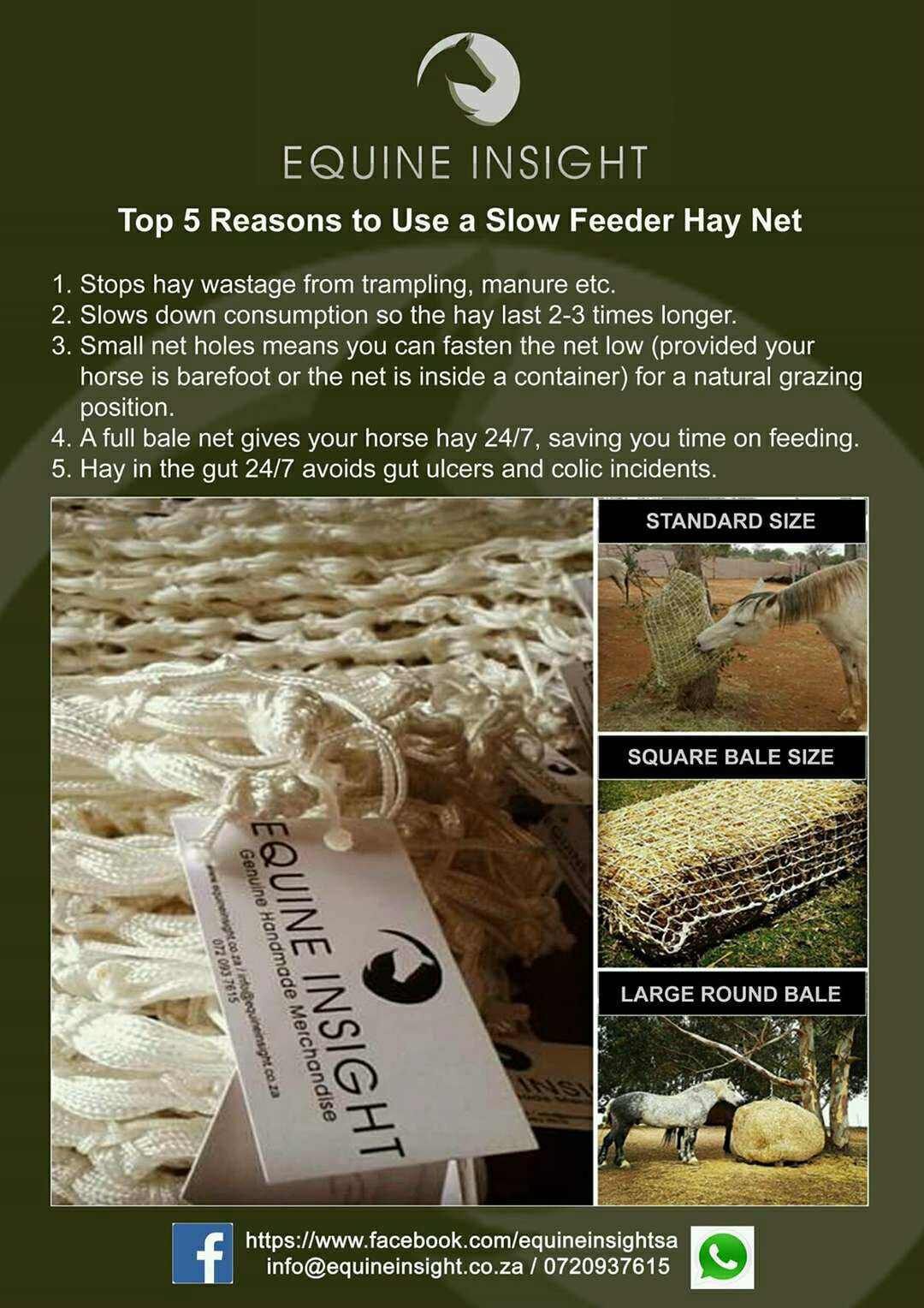 Equine Insight Slow Feeding Hay Nets and Bale Nets