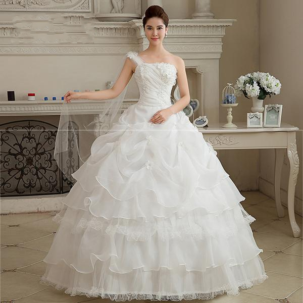 New One Shoulder White Wedding Dress Floor Length