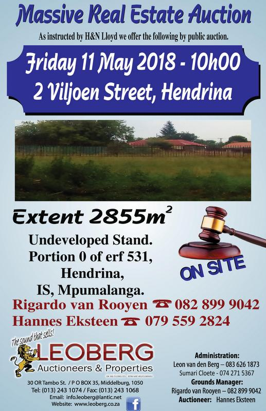 Undeveloped Stand on Auction - 11 May 2018 at 11h00 - Hendrina