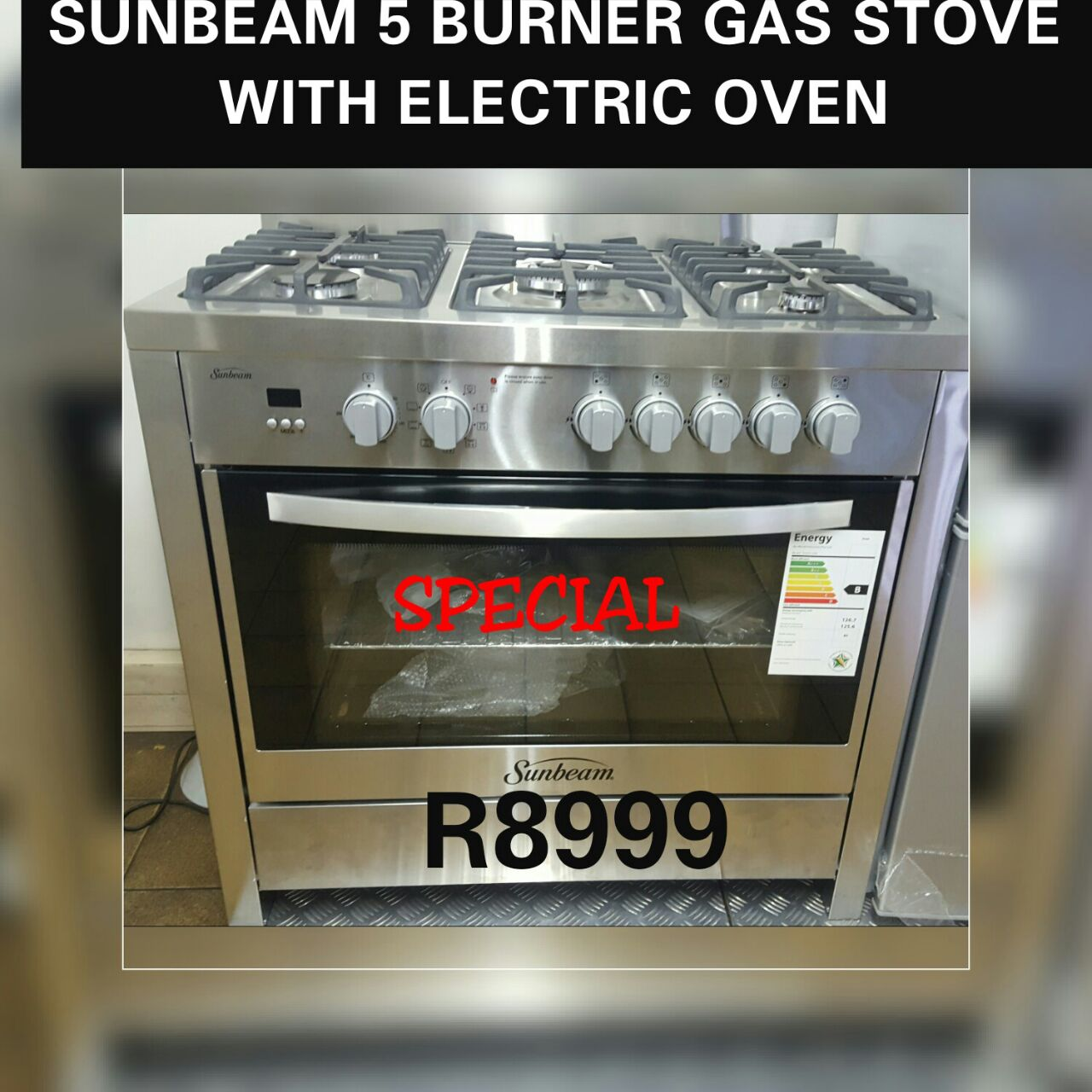 6 Burner fully gas s.steel stove with 1 year warranty