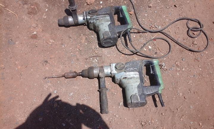2 x Hitachi concrete hammer drills