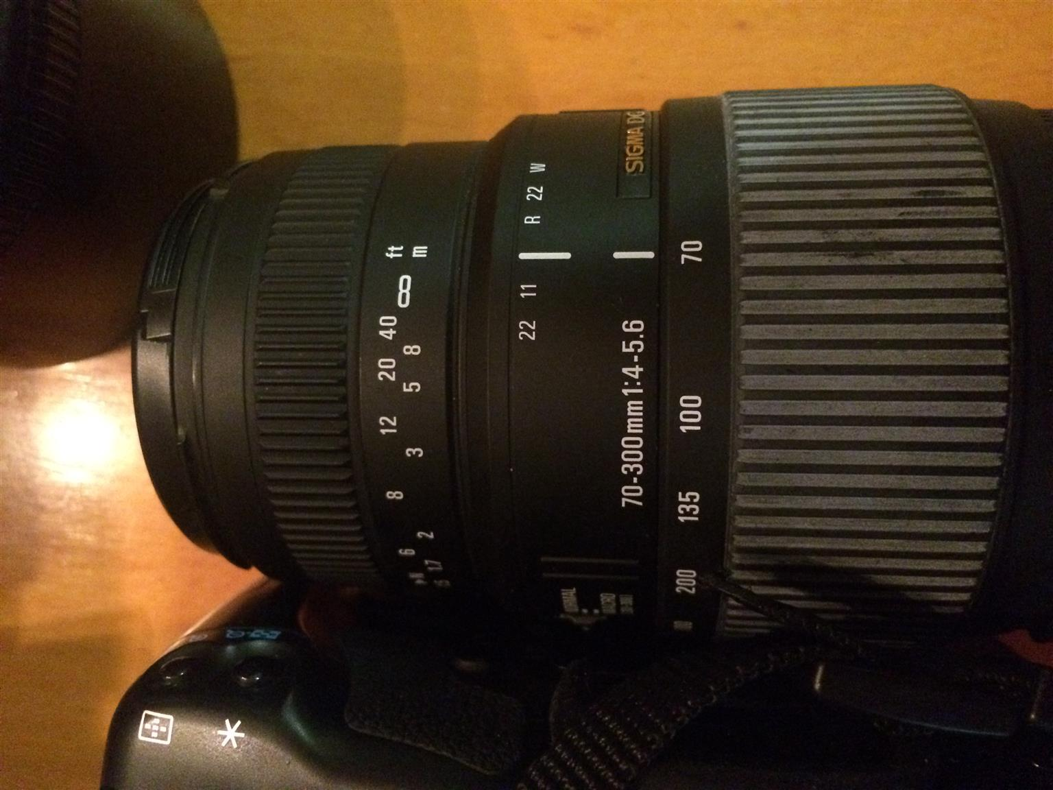 Canon D450 18-55mm lens and a 70-300mm Sigma lens in mint condition