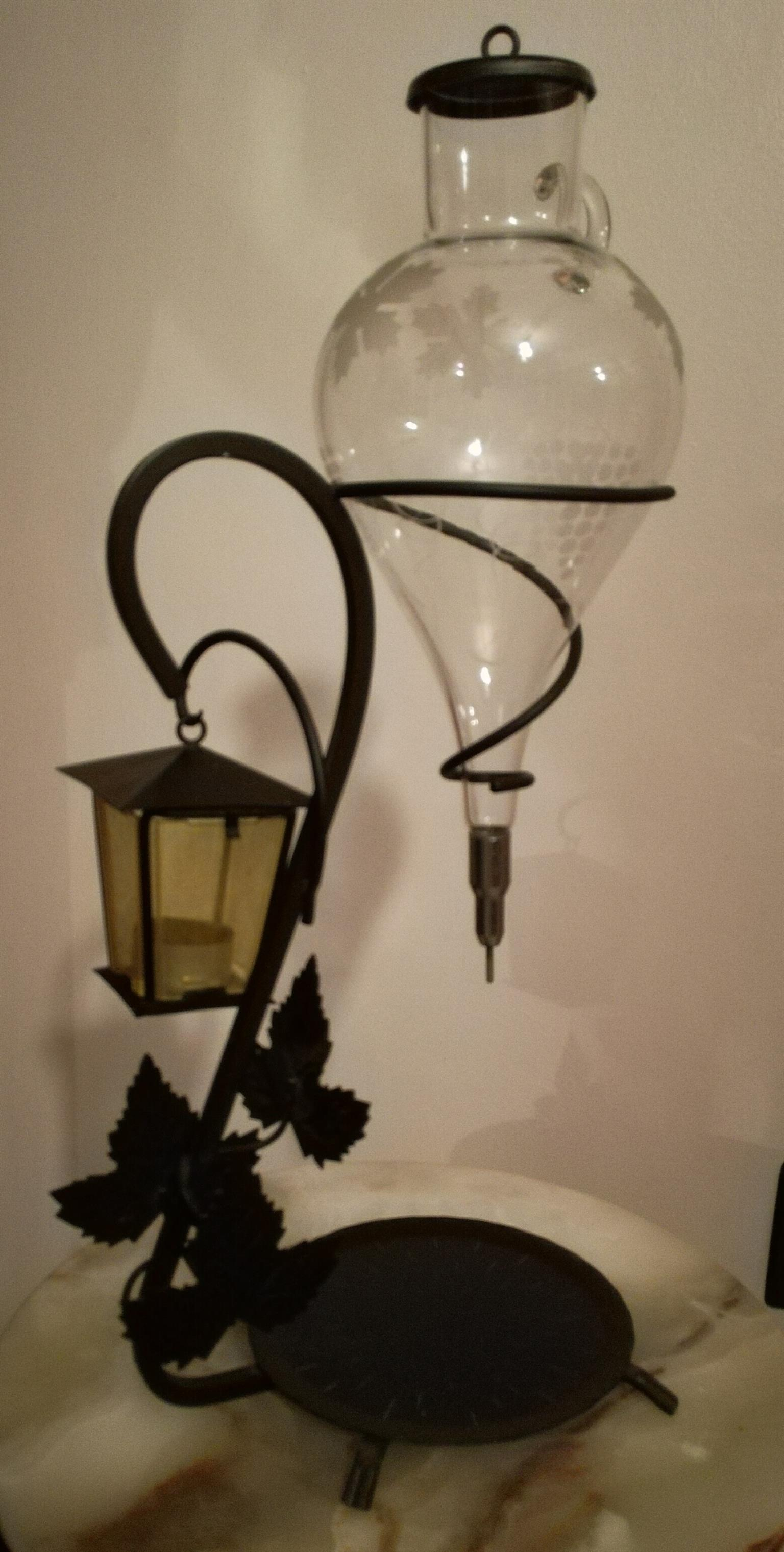 Charming rare Vintage Vine Dispenser with Lantern on wrought iron base, Leaves & Grapes Design
