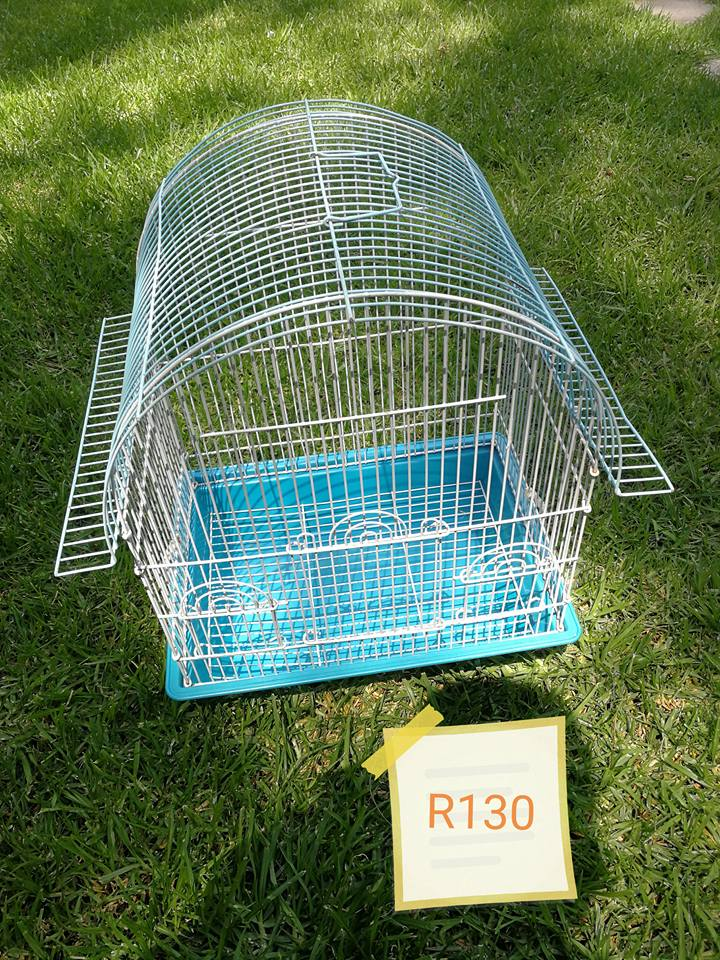 Blue and white bird cage