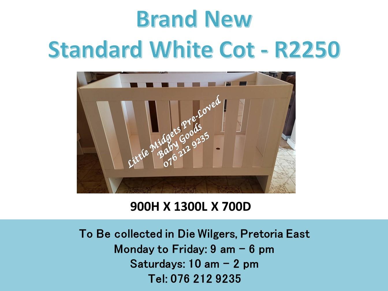 Brand New Standard White Cot (900H X 1300L X 700D)
