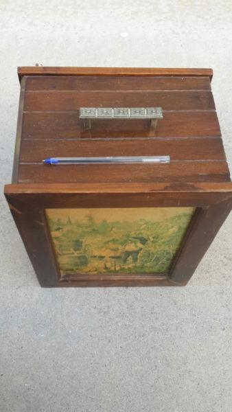 Bird Nesting Box Decorative Wooden and Brass