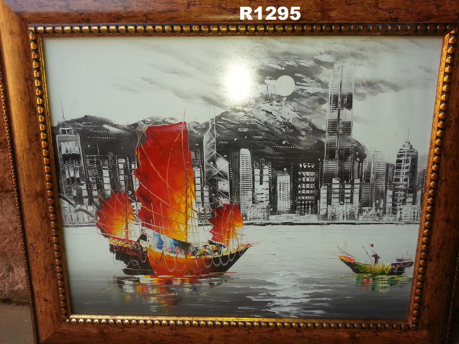 Red Ship Oil Painting (875x735)