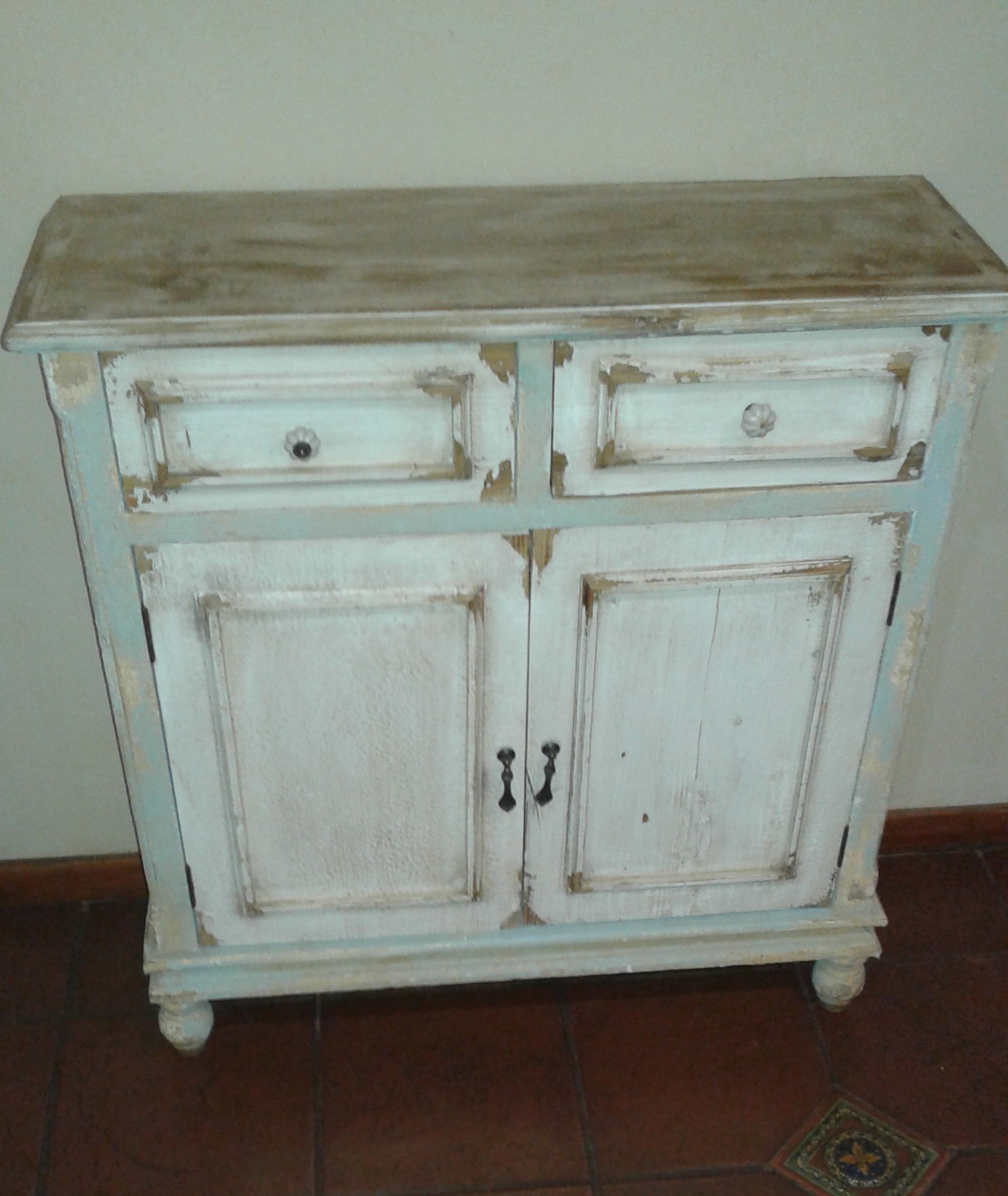 Home Decor/ 2 Drawer Distressed Cabinet