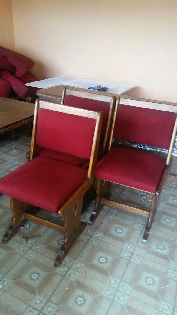 Dining Table And Six Maroon Chairs With Cabinet