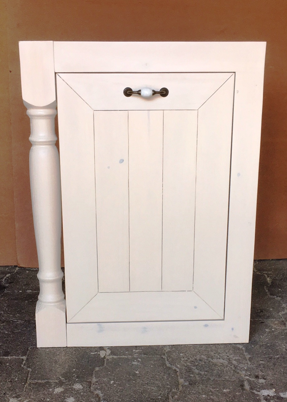 Kitchen Cupboard for refuse bin Farmhouse series 650 Stained Antique white