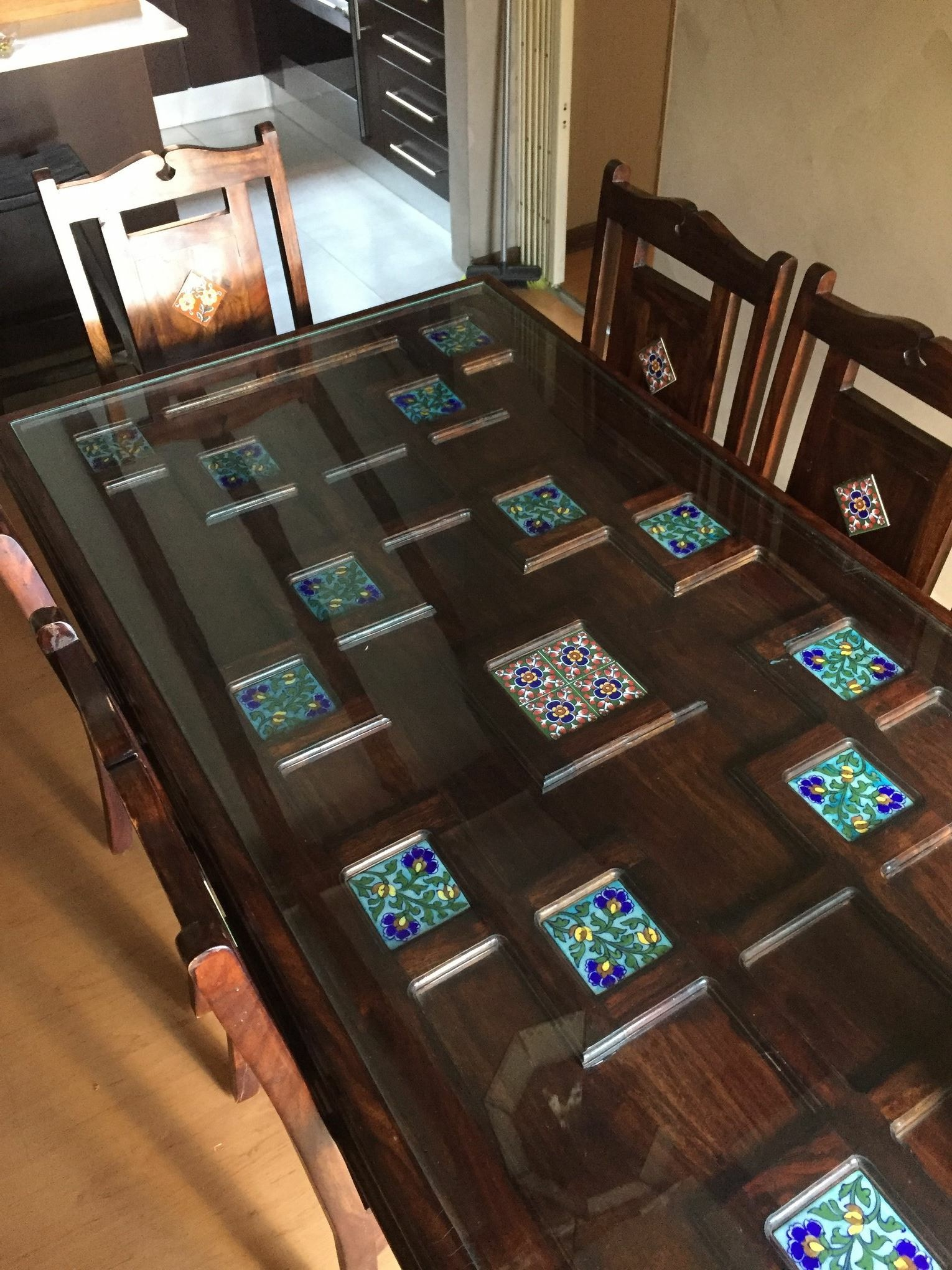 Handcrafted 8 seater solid teak dining suite
