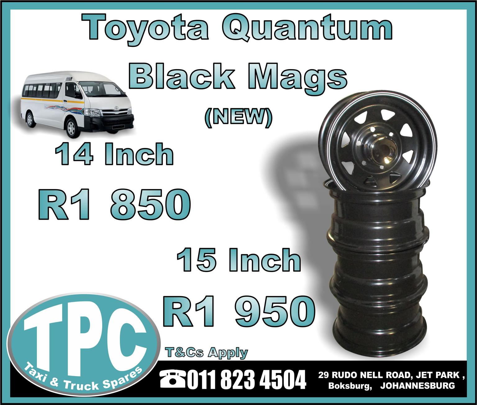 Toyota Quantum Black Mags 14/15 Inch - NEW - New And Used Replacement Taxi Parts - TPC.