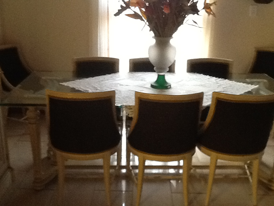 20mm beveled glass top 8 chairs and 3 door buffet solid rose wood excellent condition  cream and black with gold