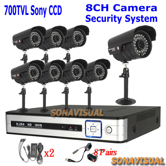 8CH HD CCTV Security DVR, 8 x Outdoor Night Vision Cameras