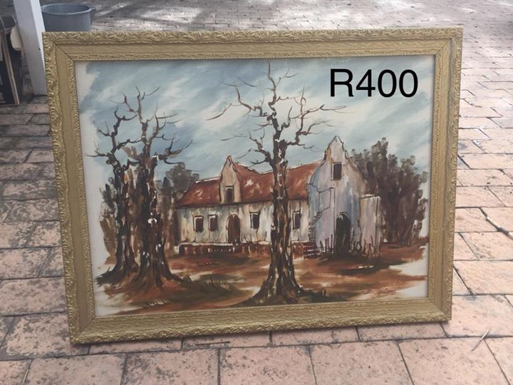 Old house with winter trees painting