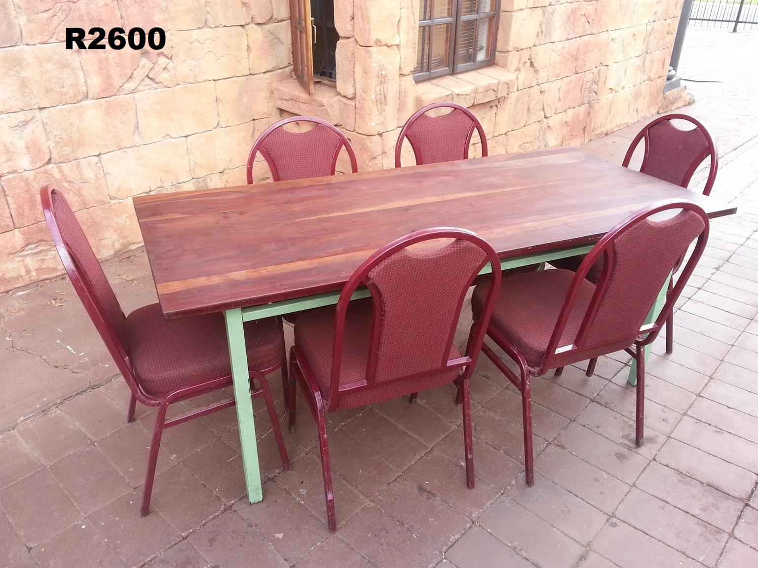 Rhodesian Teak Table with 6 Steel Chairs (1710x820x730)