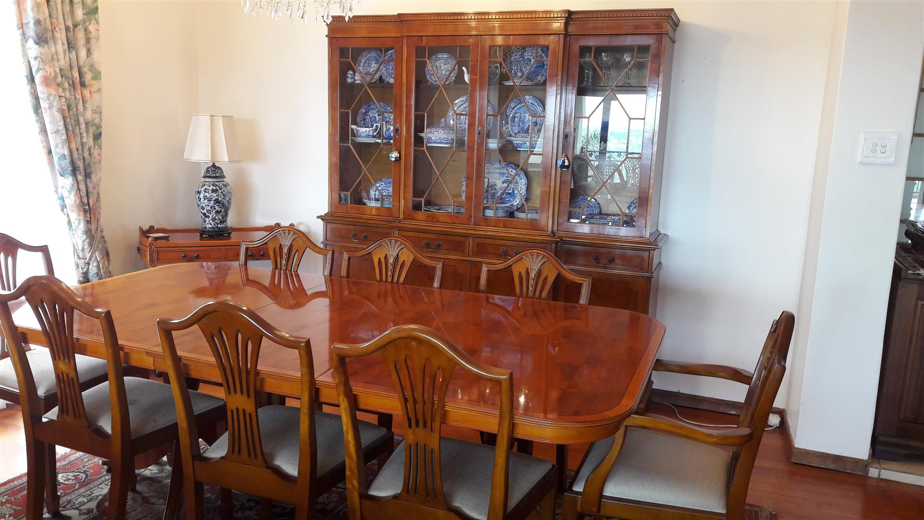 YEW WOOD DINING ROOM SUITE FOR SALE