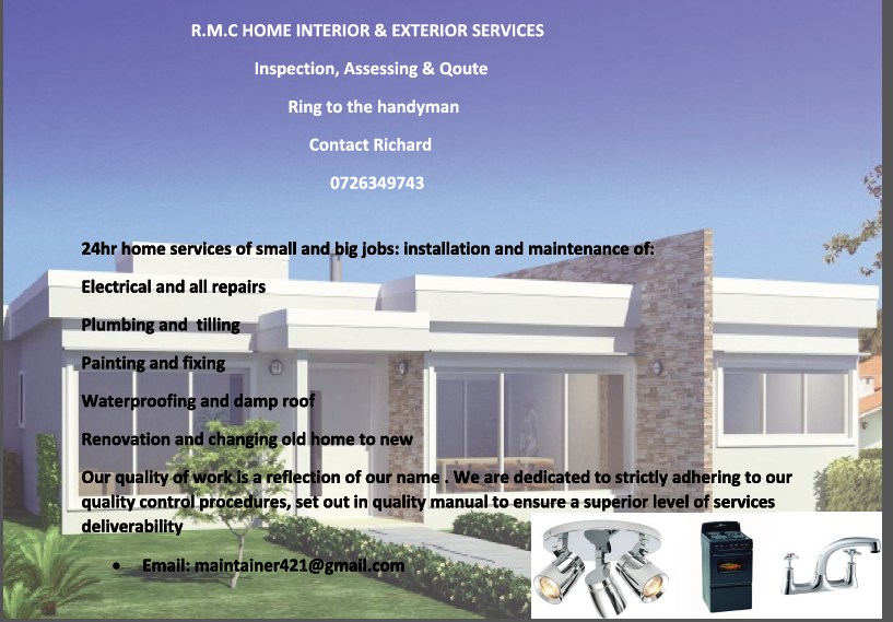 R.M.C HOME INTERIOR & EXTERIOR SERVICES Inspection, Assessing and Quote.