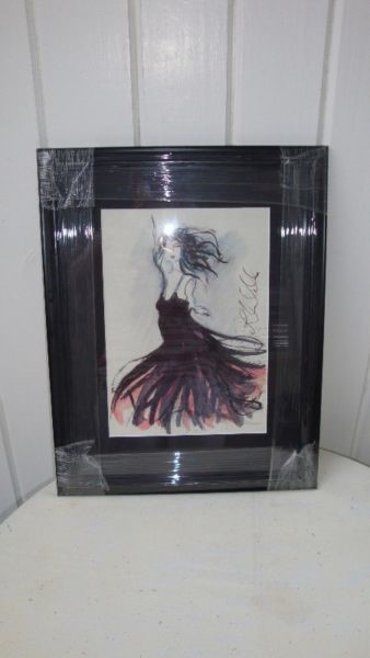 Affordable, original and framed art by Irish artist Ros Webb - girl with black hair and black dress