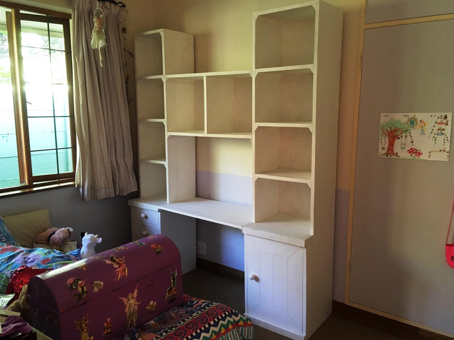 Study Desk And Bookshelf Units Cottage Series 1800 White Washed