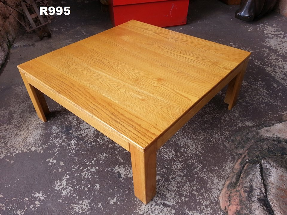 Big square light wooden coffee table
