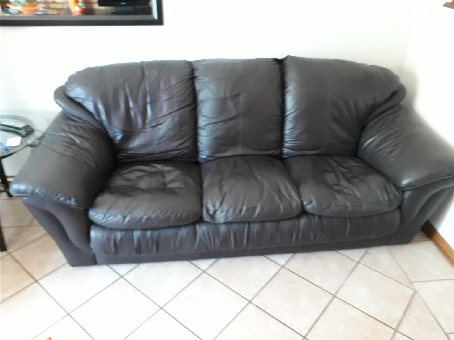 Three seater learher couch