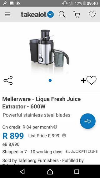Mellerware Juice Extractor BRAND NEW