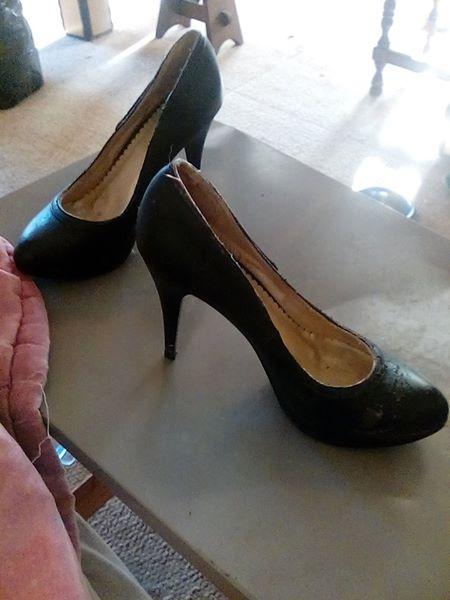 Plain black high heels
