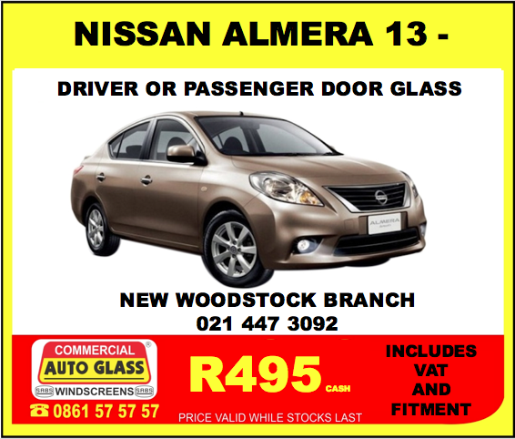 2013 - Nissan Almera Door Glass Special