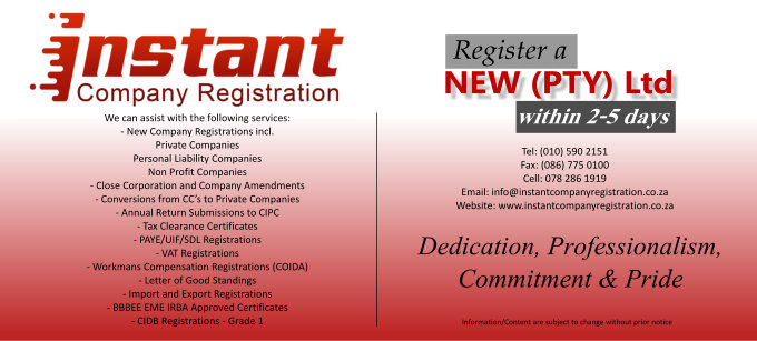 Instant Company Registration (Pty) Ltd - Company / Business and Tax Registration Services