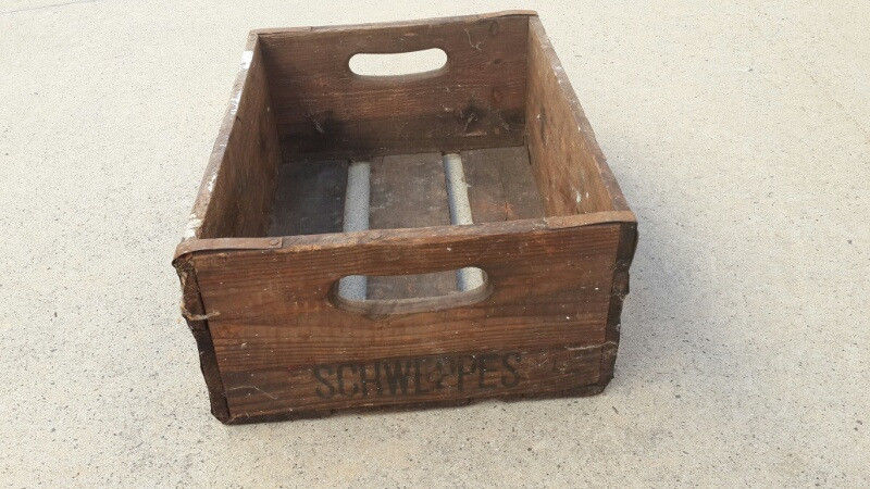 wooden schweppes bottle crates