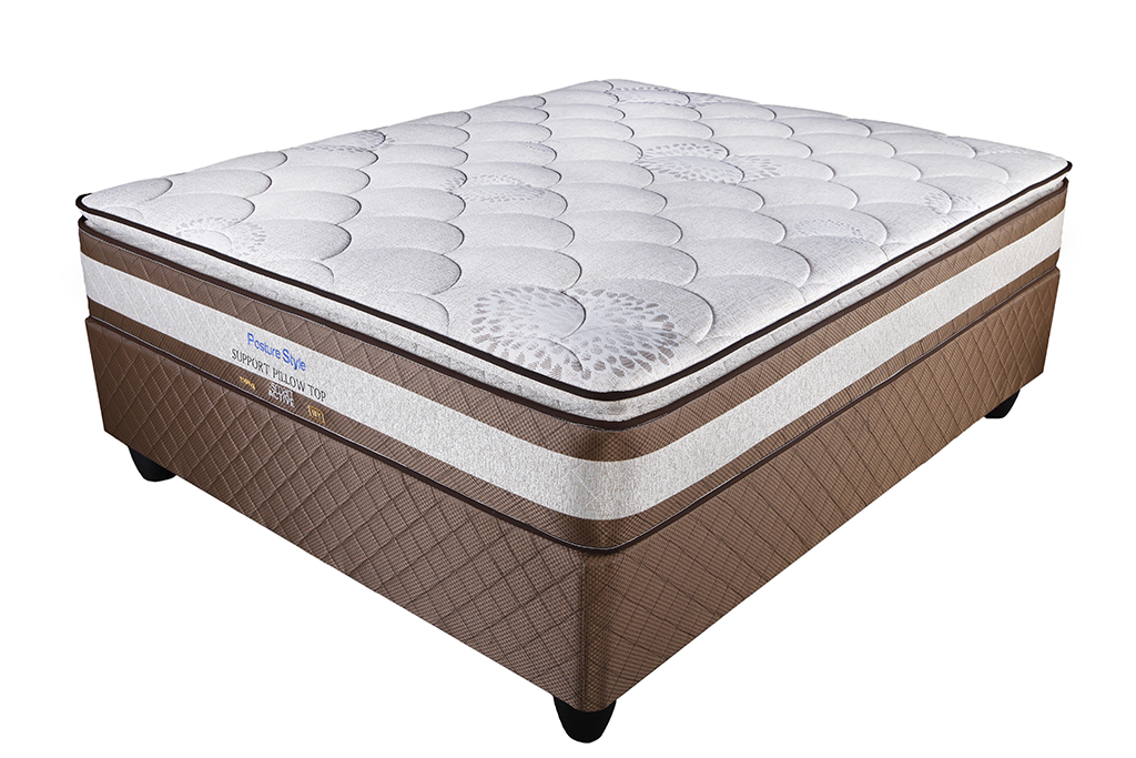 Extra Length Posture Style Bamboo Pillow Top Queen Mattress and Base Set.