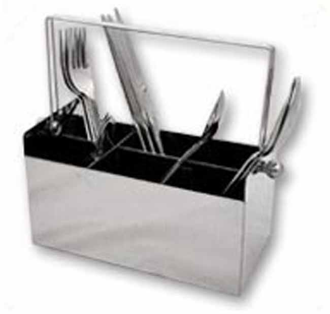 MATT STAINLESS STEEL 6 DIVISION CUTLERY CADDY!! ON SPECIAL!!!
