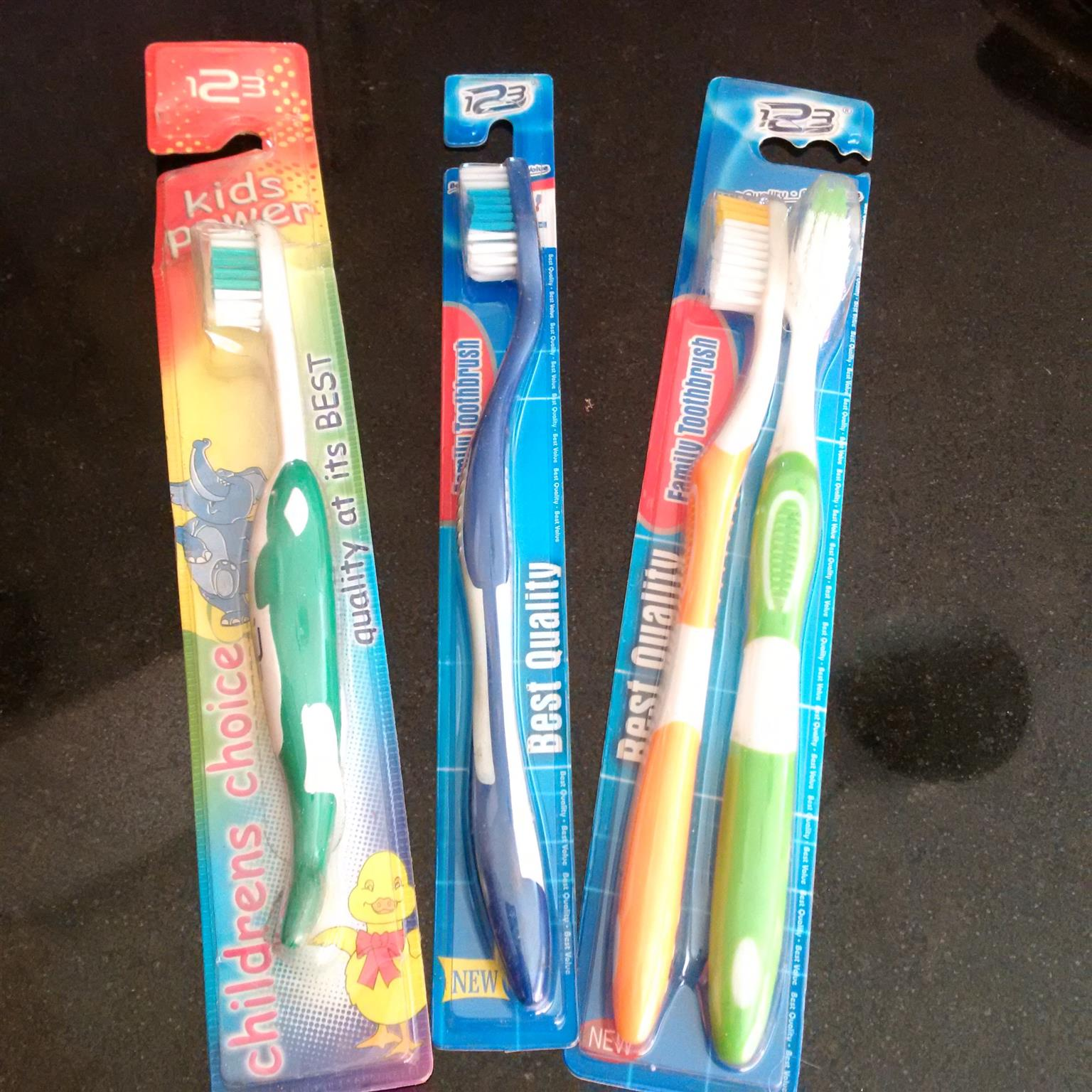 adults and kiddies toothbrushes