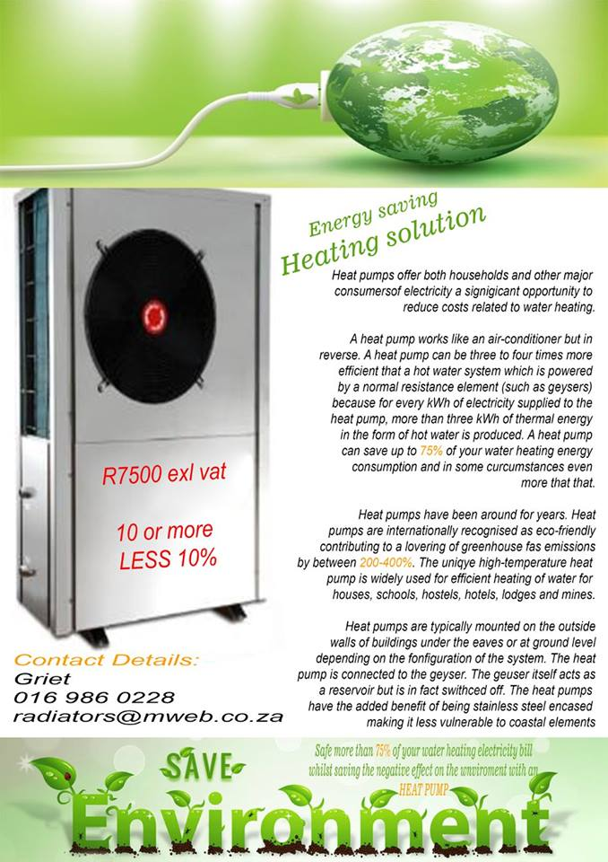 Heatpumps for sale. Only For household Geysers and small Jacuzzi's!