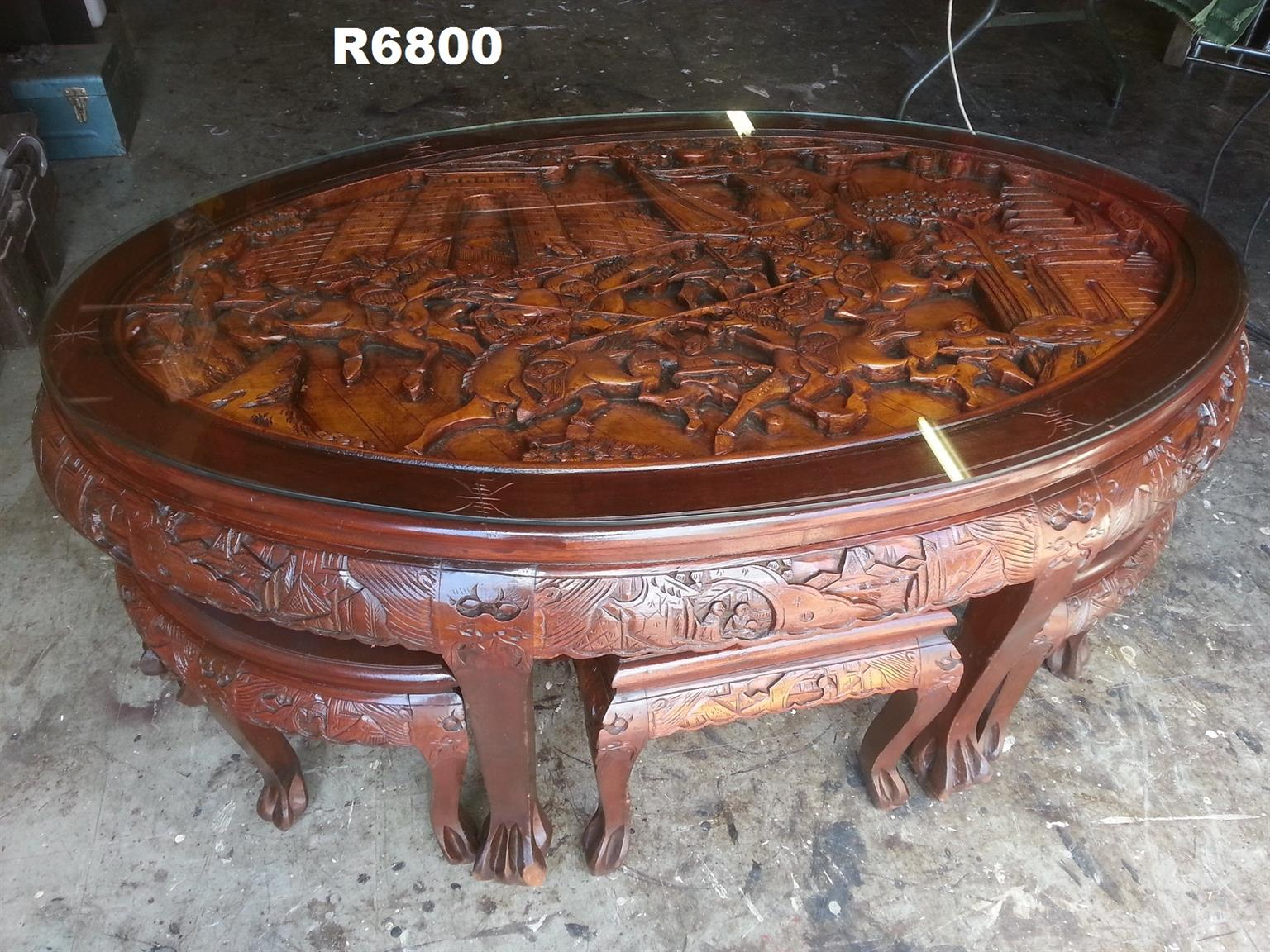 Groovy Carved Chinese Coffee Table With 6 Stools Rascalartsnyc Gmtry Best Dining Table And Chair Ideas Images Gmtryco