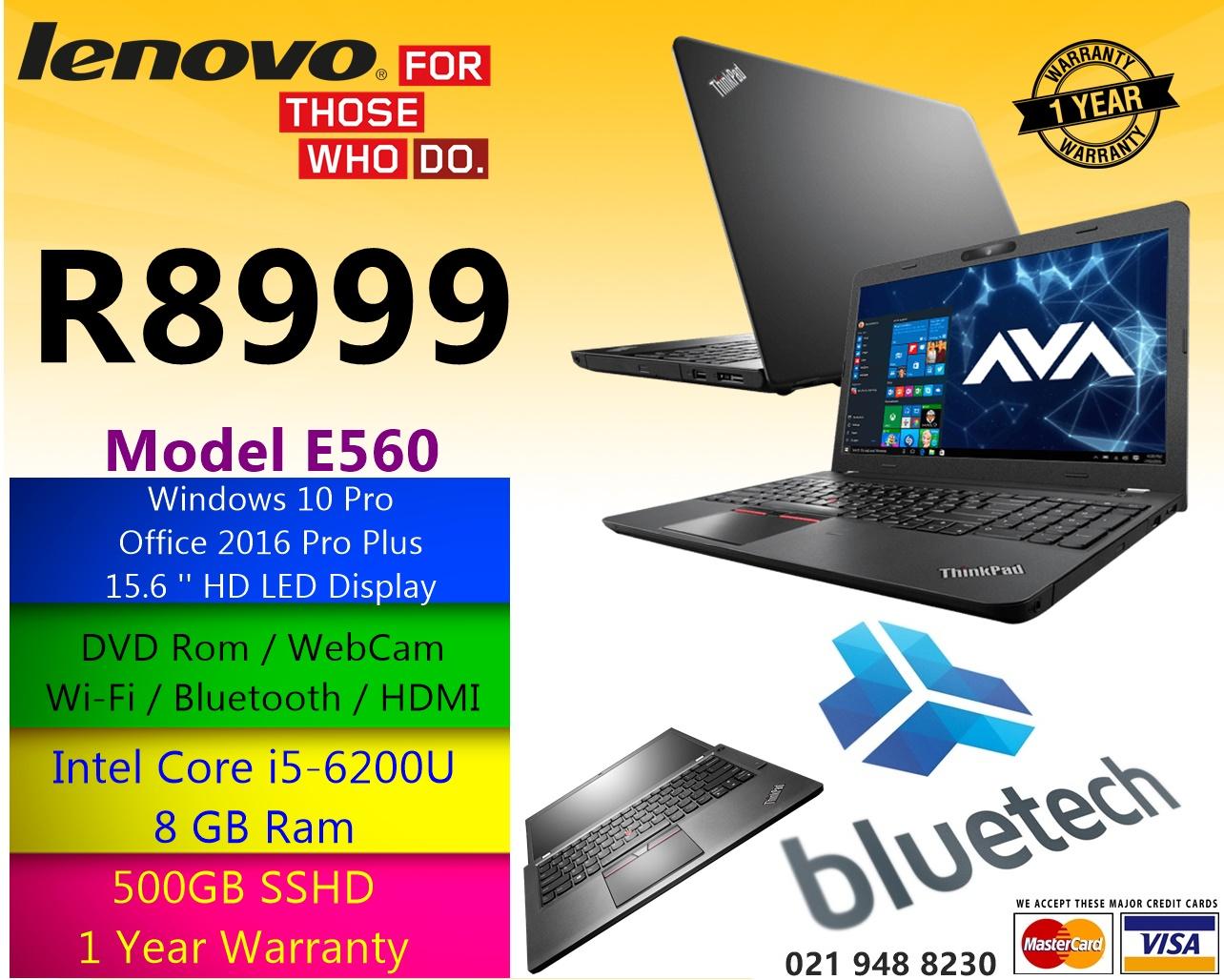 """Lenovo ThinkPad E560 - 15.6"""" - Core i5 6200U - 8 GB RAM - 500 GB SSHD - Bluetech 021 948 8230"""