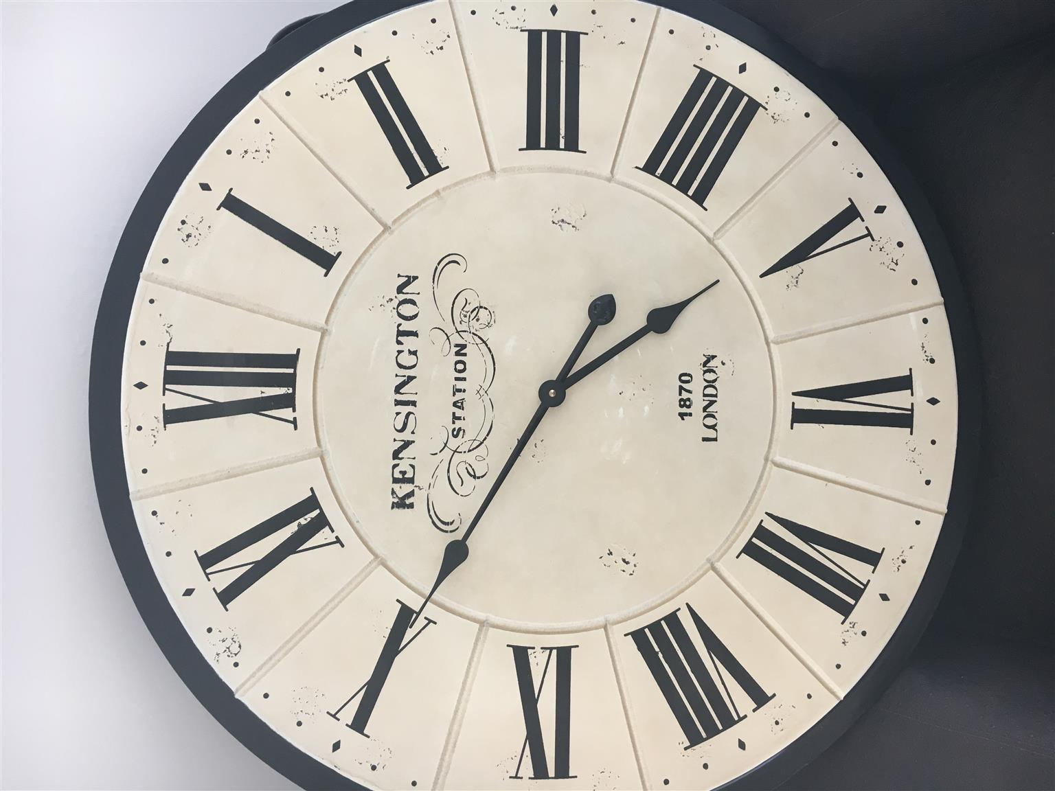 WALL CLOCK - ANTIQUED WITH ROMAN NUMERAL DIAL 78CM - R500.00