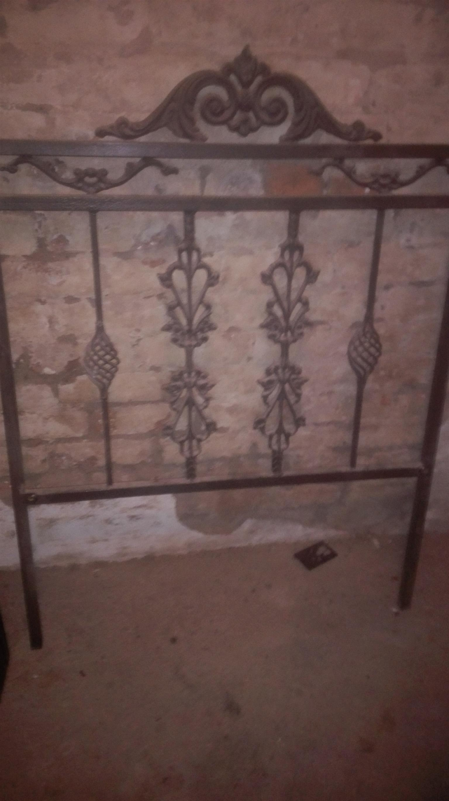 Single bed steel headboard and side table